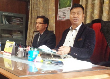 R Tohanba, Parliamentary Secretary for Municipal Affairs addressing a Press Conference held at Kohima Municipal Council Office today. State Secretary Commissioner of Municipal Affairs, Dr. Maongwati Aier IAS (right), seen attending the Press Conference. Photo by NEPS
