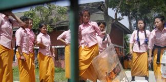 TG Students burning a shield snatched from Manipur police.