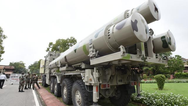 BrahMos missiles are seen at the Parliament House ahead of an exhibition in New Delhi. (Sonu Mehta/HT Photo)