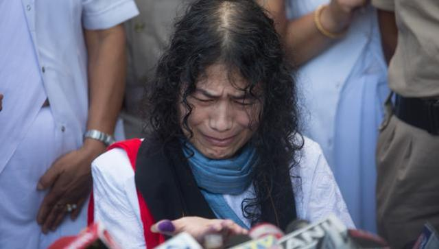 Irom Sharmila reacts during a press conference in Imphal. Sharmila found herself lonely within hours of calling off her protest on Tuesday. (HT Photo)