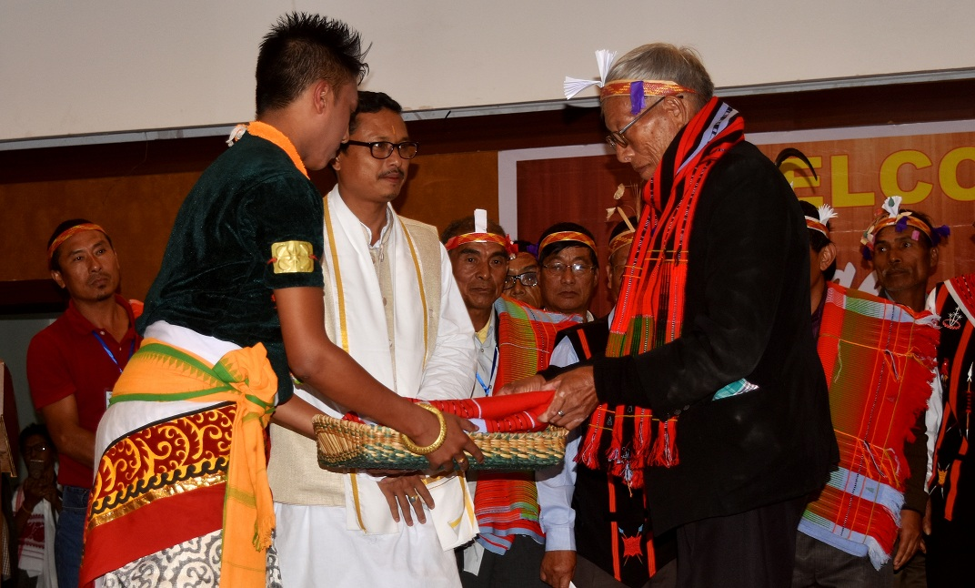 Gift's were exchange with the 33 old age people from Sangshak and Titular King of Manipur, Leisemba Sanajaoba and the organiser.