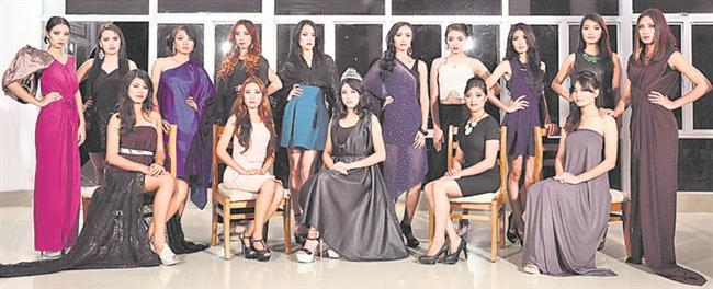 The semifinalists with the reigning Miss Nagaland, Nenghoilhing Hangsing.