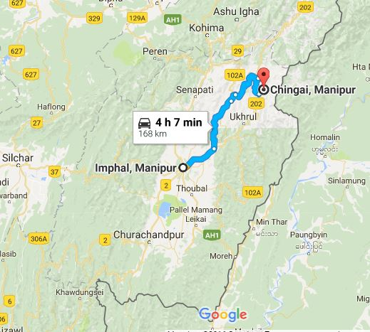 Chingai lies in Ukhrul District of Manipur at a distance of 168 Kilometer from the capital Imphal