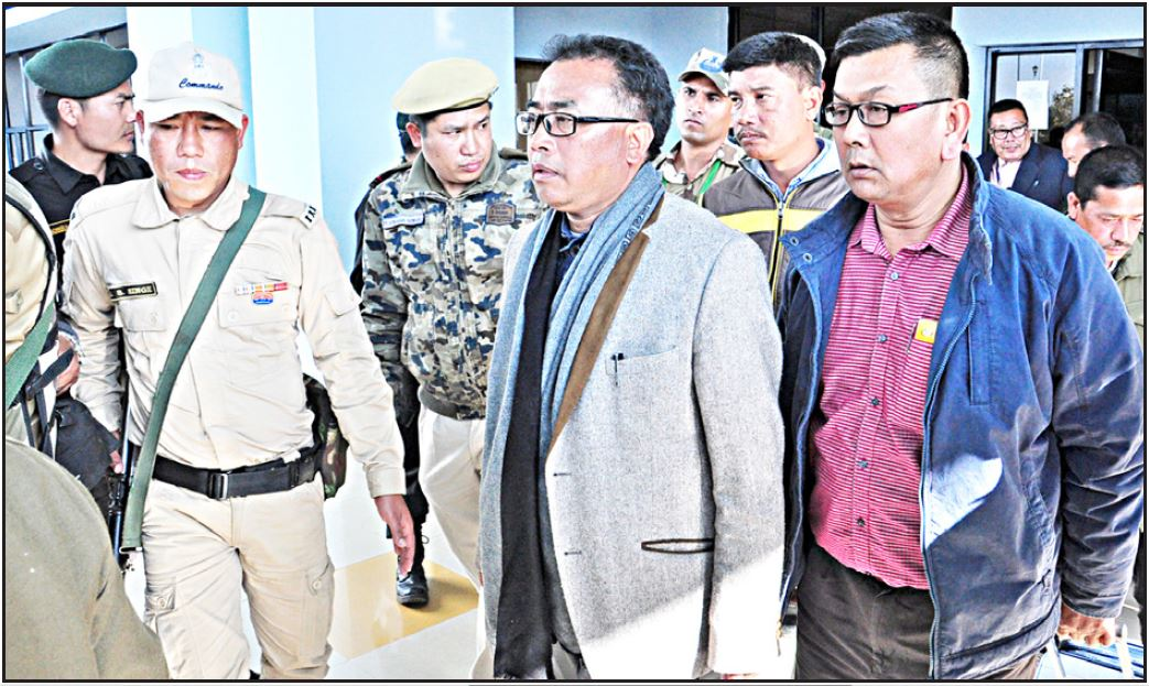 UNC president Gaidon at Tulihal airport after returning from New Delhi
