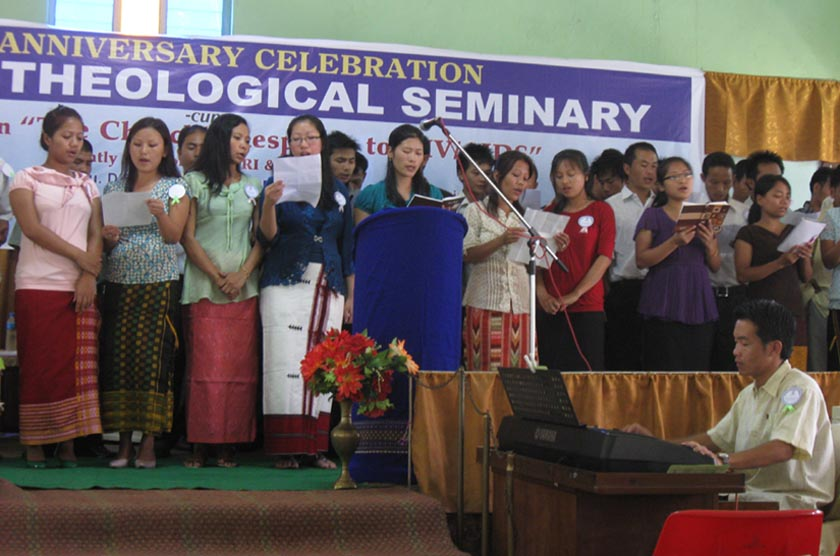 Students of Trulock Theological Seminary presenting gospel song during the inaugural function of the 29th Annual celebration of Trulock Theological Seminary cum seminar on the chruch's response to HIV/AIDs organised by BTESSC and TRI on Monday.