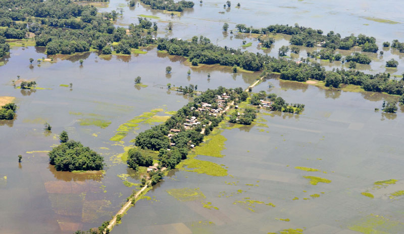 An aerial view`of flood-affected areas of Assam on July 02, 2012.