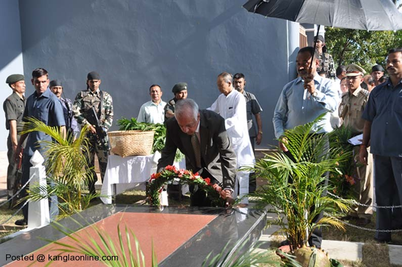 State Governor, Gurbachan Jagat laying wreaths at the Bir Tikendrajit  park on Monday during the Patriots' Day observation.