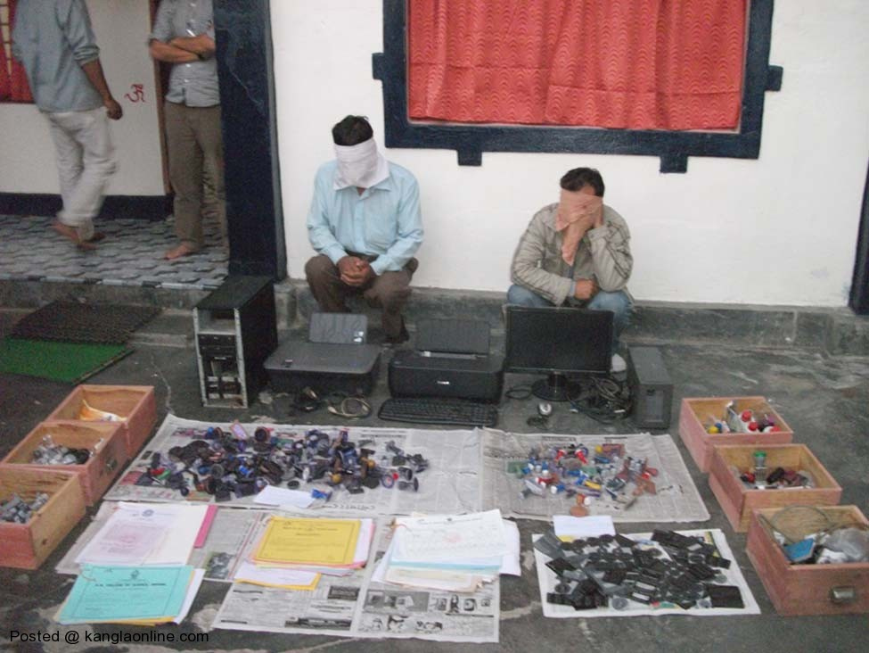 The two arrested along with the seized items and fake certificated being produced before media persons on Sunday