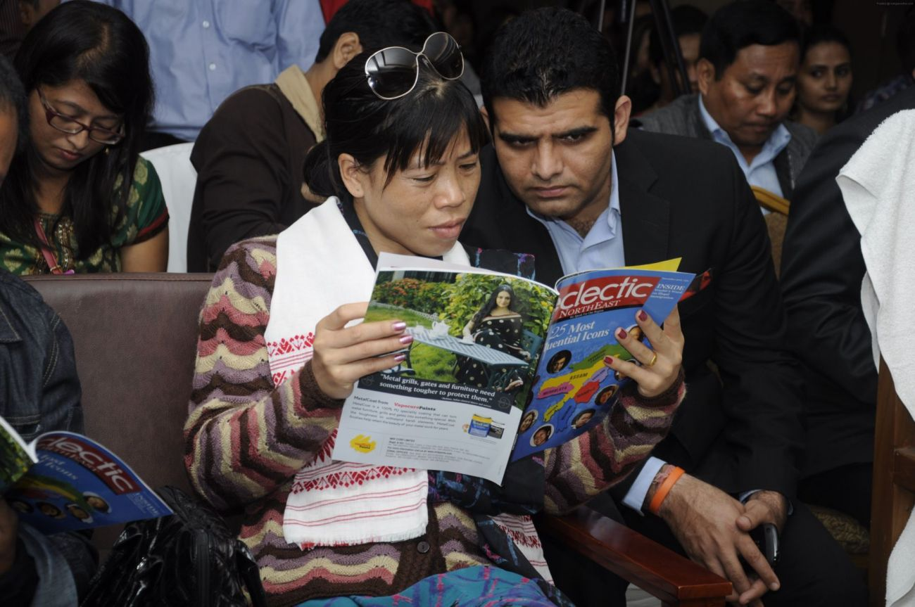 Mary Kom reading through Eclectic Northeast at the re-launch event