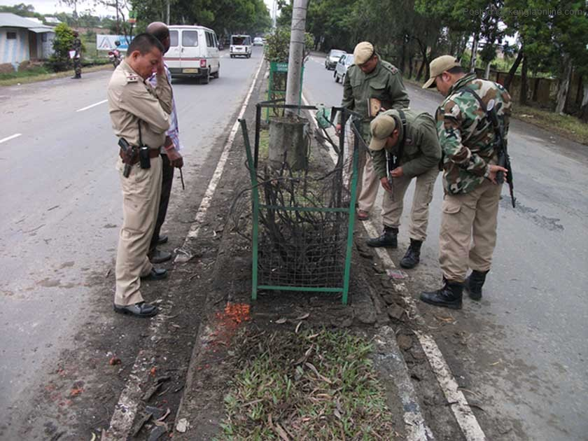 State police inspecting the Ghari blast site on Wednesday