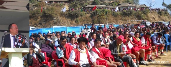 Nagaland Assembly Speaker Chotisuh Sazo addressing on the occasion of the 34th Cultural Day that coincides with the Sukrunye (premier festival of the Chekhesangs) organized by the Model Village Yorubami Youth Association (MVYYA) at the Yorubami Public Ground January 9, 2014. (NEPS Photo)
