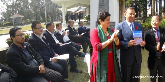 """Governor of Nagaland Dr Ashwani Kumar releasing a book, """"A Walk to Emmaus - A Journey of Attitudinal Change"""" written by Jonas Yanthan at Raj Bhavan, Kohima on January 3, 2014. Lady wife of the Governor and author, Jonas Yanthan (extreme right) were also seen in the picture. (Left) Leaders of lotha Hoho and sections of media attending the function. (Oken Jeet Sandham Photo)"""