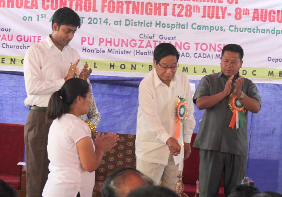 Health minister Phungzathang Tonsing lighting the inaugural lamp of the Intensified Diarrhoea Control Fortnight. Source: IFP