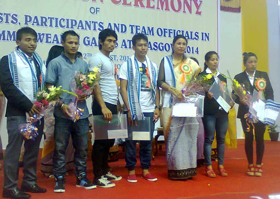 CWG participants from the State during their felicitation function. Photo: IFP