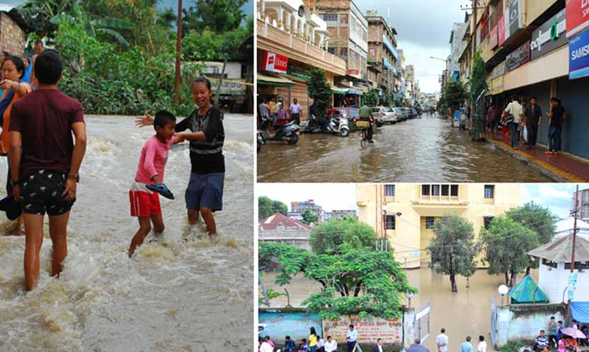 Two children play in a water-logged street after heavy downpour inundated several places in the State. Paona Bazar and the Uripok Cheirap Court remained inundated. (clockwise from left) Photo: IFP