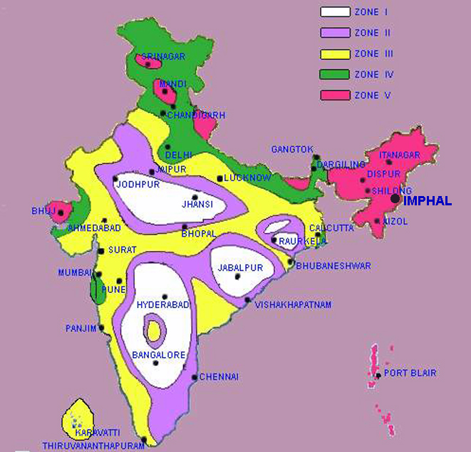 Figure 4. Seismic Map of India showing the seismically active zones of Northeastern Indian Region, whih is included in Zone V.
