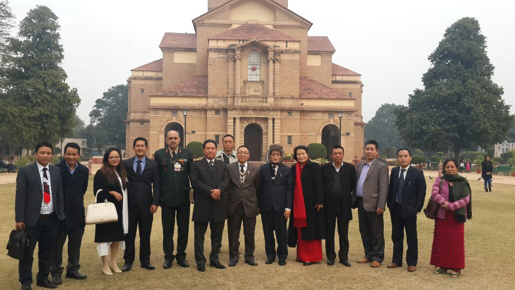 Nagaland Minister for National Highways and Mechanical Engineering Nuklutoshi (6th left) with Ao Church leaders and invitees during a grand New Year program for the Aos living in and around Delhi at Delhi on January 1, 2015.