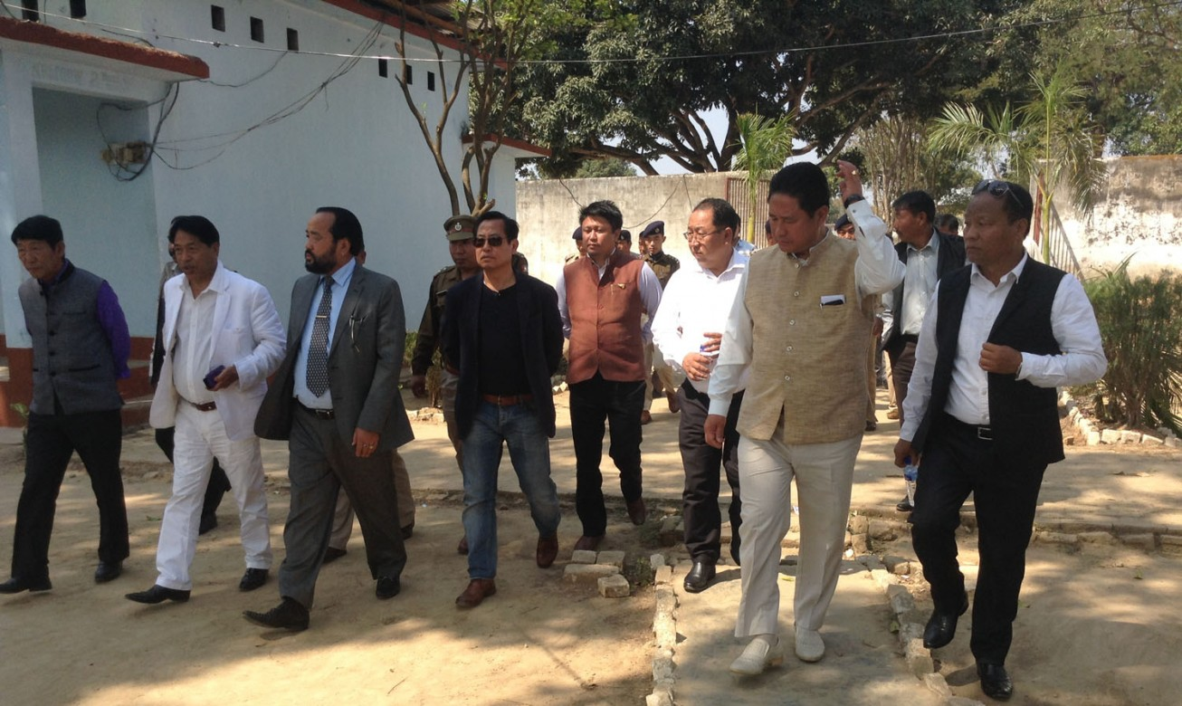 Home Minister Y Patton, 3rd left with his ministerial colleagues visits Dimapur Central Jail on March 9, 2015 to stock of the situation following March 5 incident.(NEPS Photo)