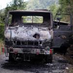 6th Dogra Regiment's truck ambushed by militants at Paraolon, Chandel District, Manipur.photo by Deepak Shijagurumayum.