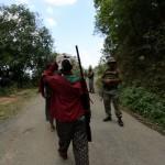Villagers roaming around with air gun at the ambush site at Paraolon, Chandel District, Manipur. Photo by Deepak Shijagurumayum.