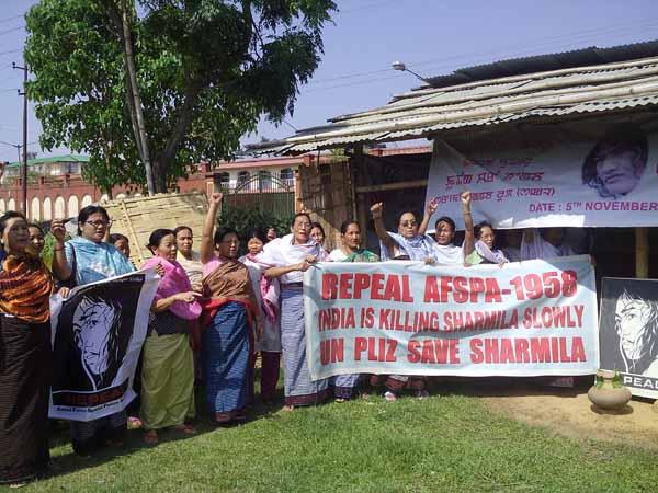 SAKAL member shouting slogans demanding repeal of AFSPA.