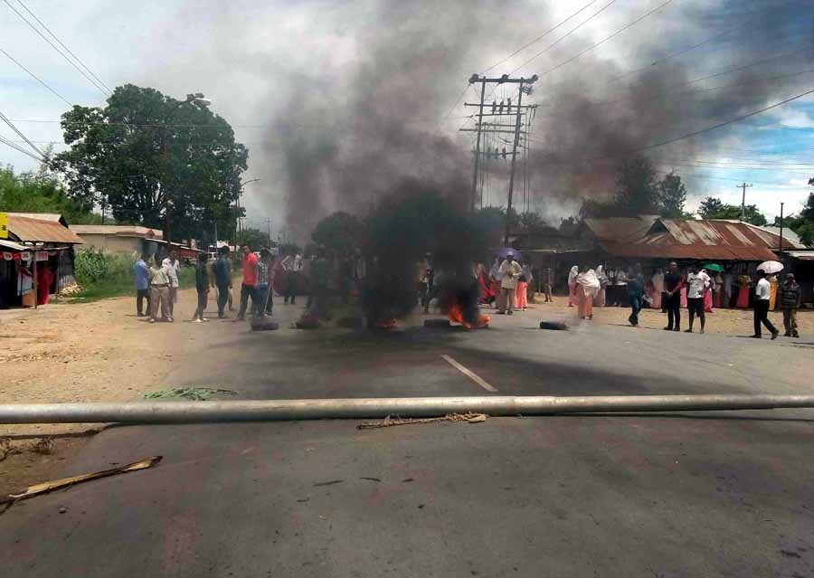 Khangabok protest: Smoke billows from burning tyres as protestors came out to block the highway