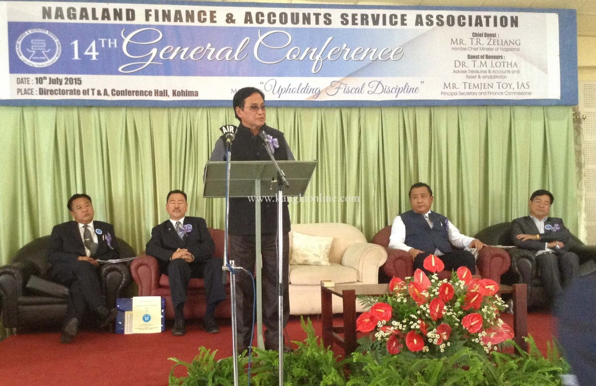 Dr TM Lotha, Adviser, Treasuries & Accounts, speaking at   14th Gen Conf of NL Fin & Accont Service Assn