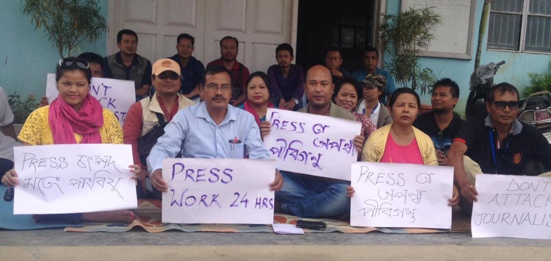 Media persons protest against attack during JCILPS bandh, at Manipur Press Club. Photo : Deepak Shijagurumayum