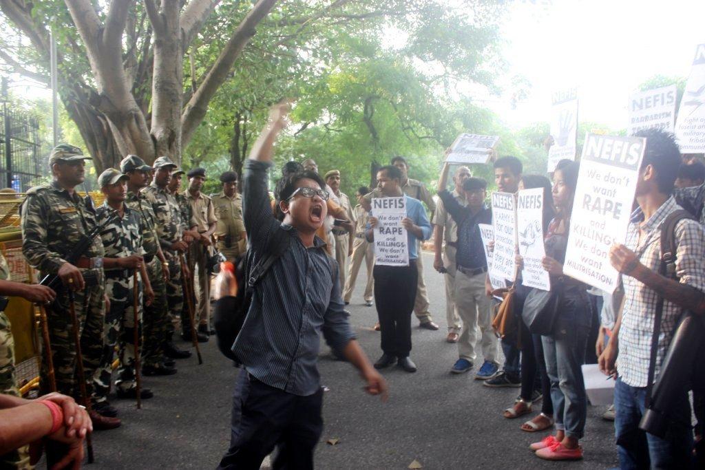 NEFIS Activists demanding arrest of rapist Indian Army