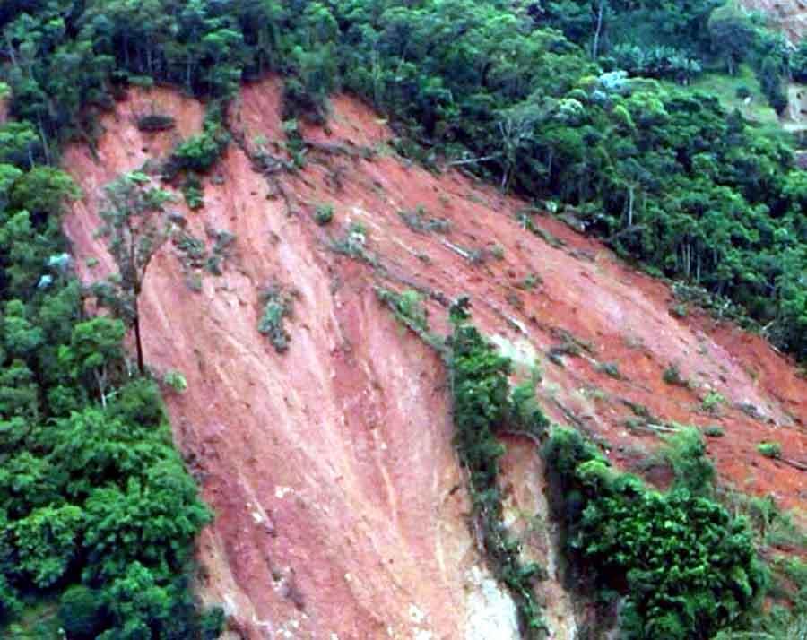 A photo of the landslide at Joumol Village, Chandel Manipur