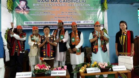 Dignitaries at the inaugural of the month long birth centenary celebration of Rani Gaidinliu at Senapati HQ