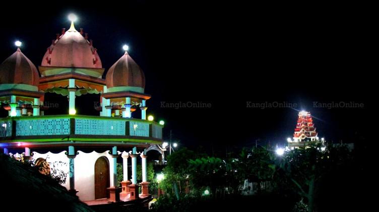Night view - Hindu Temple and Pakhangba Temple at MMRC Khangabok