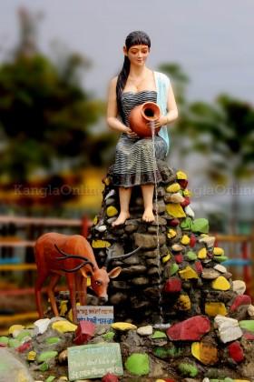 Statue representing Meetei / MeiteiWoman at MMRC Park Khangabok Manipur
