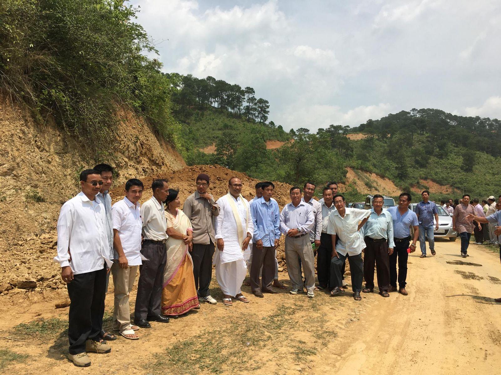 MLA Nongthombam Biren inspecting road construction near Heingang Marjing Hill