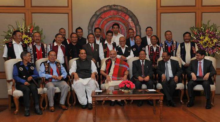 """Narendra Modi and BJP Central Govt representatives with Th.Muivah and NSCN (IM) leaders after signing the Indo-Naga """"Framework Agreement"""". Details of the agreement are yet to be disclose to the public."""