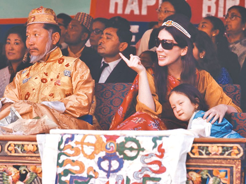 The 12th king of Sikkim, Palden Thondup Namgyal, his queen Hope Cooke and daughter Hope Leezum in Gangtok, Sikkim, in 1971.