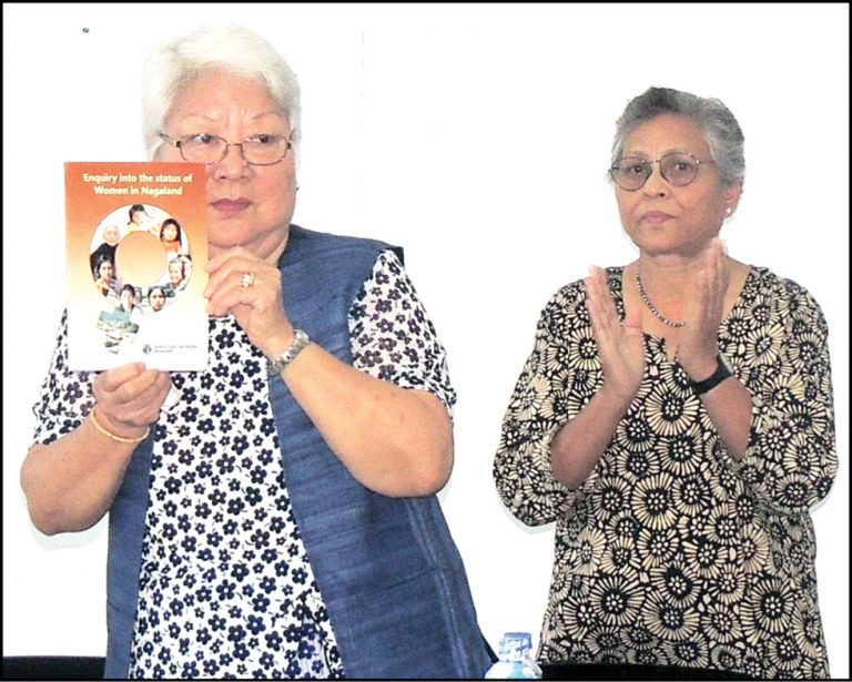 Temsula Ao releases a research report 'Enquiry into the status of women in Nagaland' in Kohima on October 7. (Morung Photo).