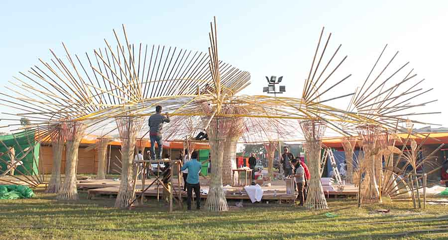 Sangai Festival: A bamboo hut constructed by forest department.