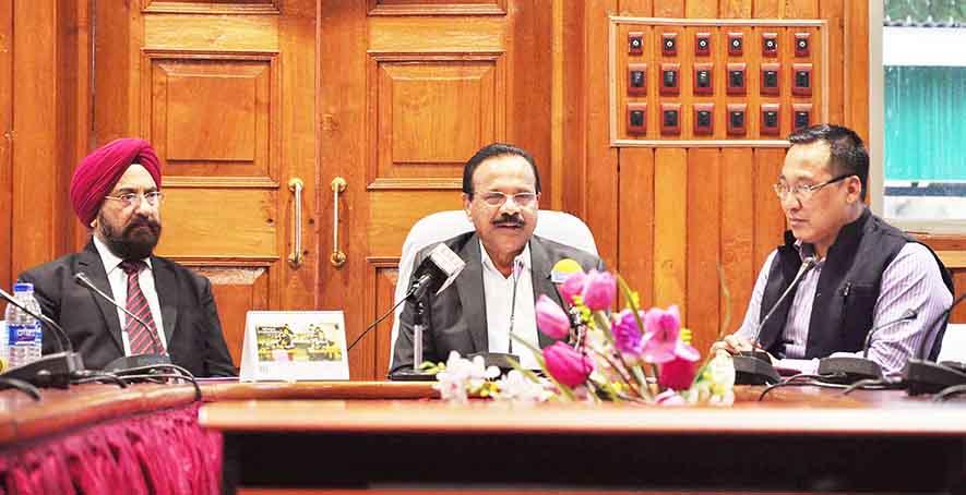 Union minister of statistics and programme implementation D.V. Sadananda Gowda addresses the media.