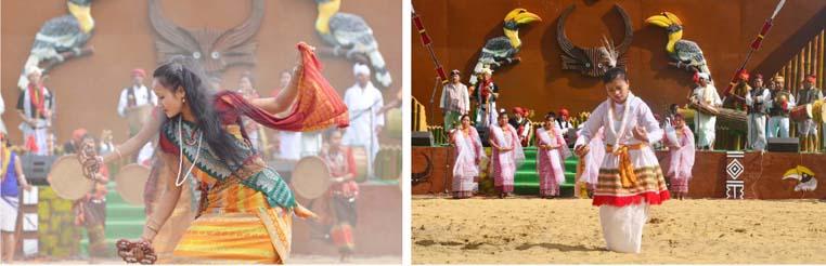 Artist from Assam perform a cultural dance.(R) Artist from Manipur perform a cultural dance.
