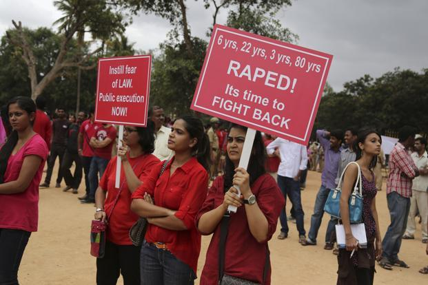 A file photo of a protest against alleged rape of a 6-year-old girl child in Bangalore in July 2014. Photo: AP