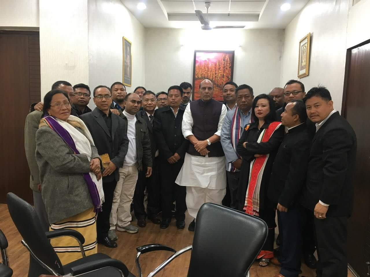 The civil society delegation with home minister Rajnath Singh. By special arrangement