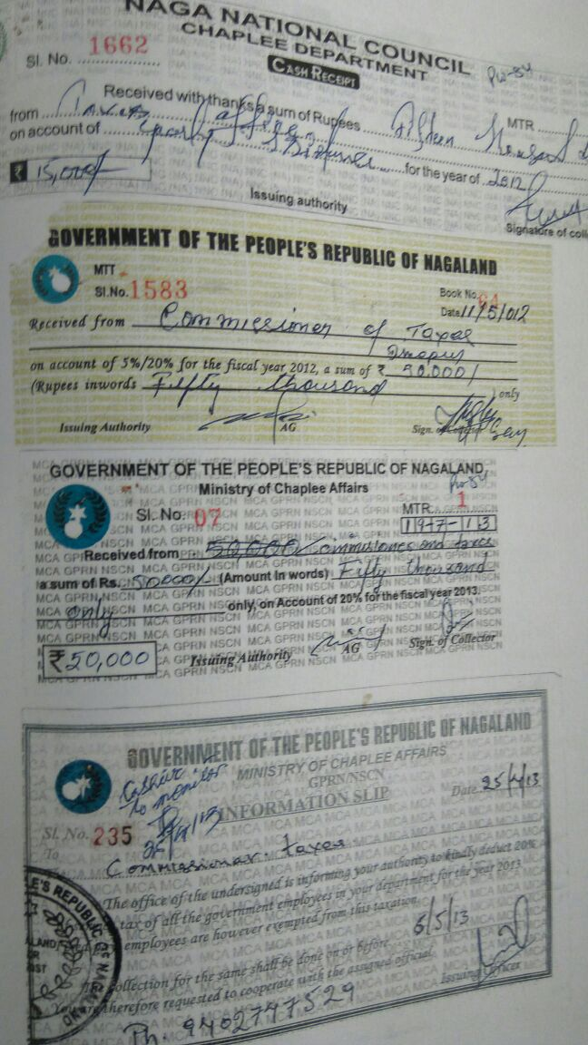 A tax slip issued by the outfit Naga National Council. Credit: Special Arrangement