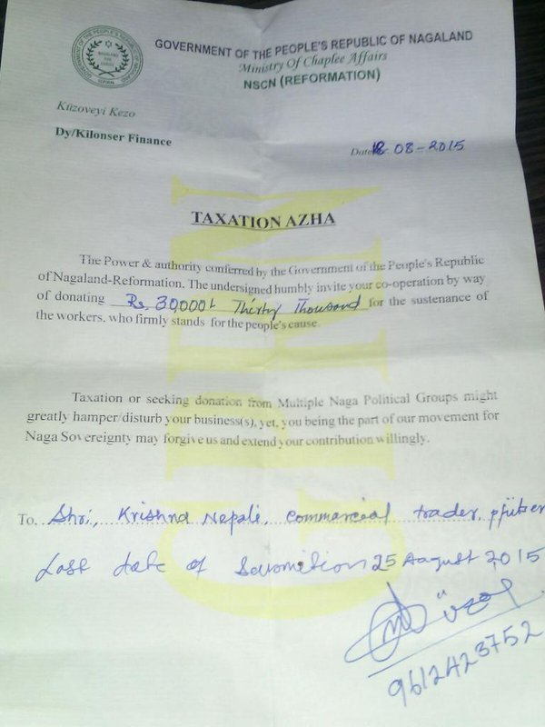 A tax notice sent by NSCN (R) to a local trader last year. Credit: Twitter