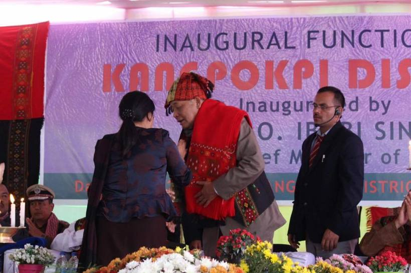 Manipur Chief Minister Okram Ibobi Singh being presented a Thadou-Kuki traditional shawl by the local MLA Nemcha Kipgen on the inauguration of Kangpokpi district on December 15, 2016