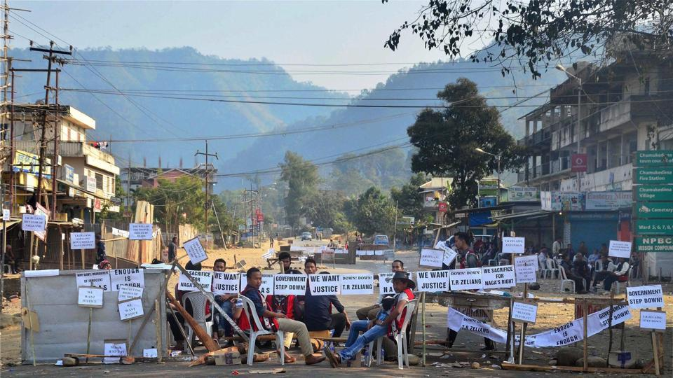 Protesters block the highway during a strike call given by joint coordination committee against 33% women's reservation in Dimapur, Nagaland.(PTI File Photo)