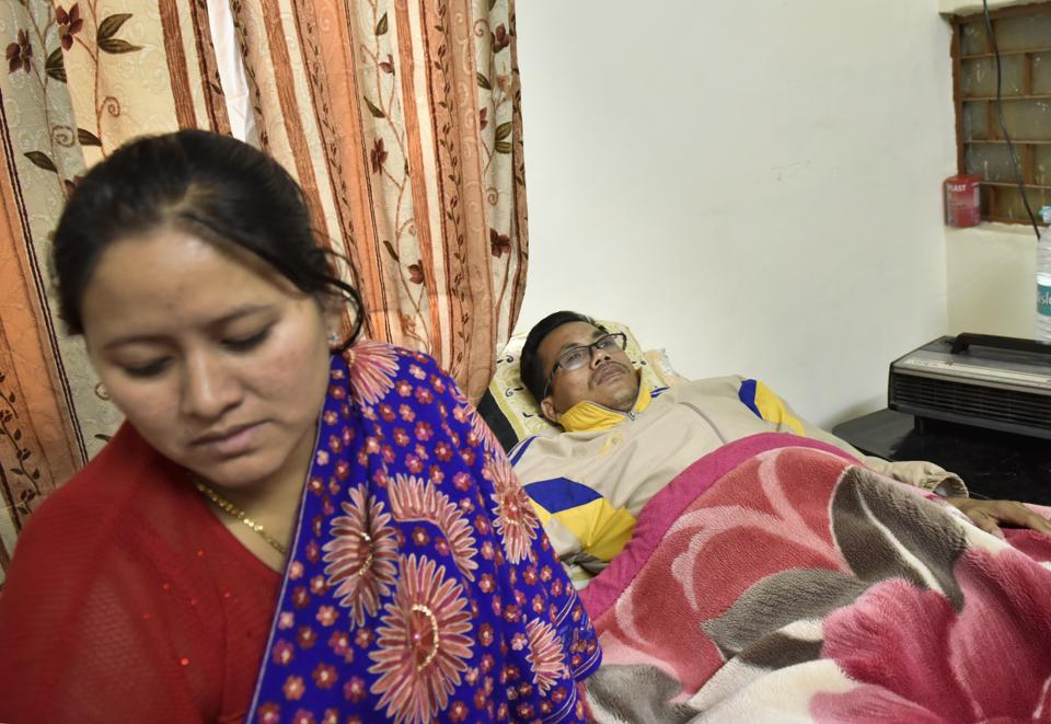 Asian Games gold medallist and Padma Shri awardee Dingko Singh and his wife are living in a friend's tiny flat in Delhi. Their two children are in a boarding house for students back home in Manipur.(Saumya Khandelwal / HT PHOTO)